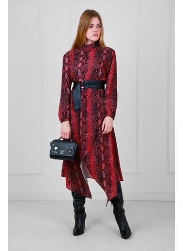 JEANNE D'ARC Piton Desen Uzun Kollu Belden Deri Kemerli Elbise  Mercan